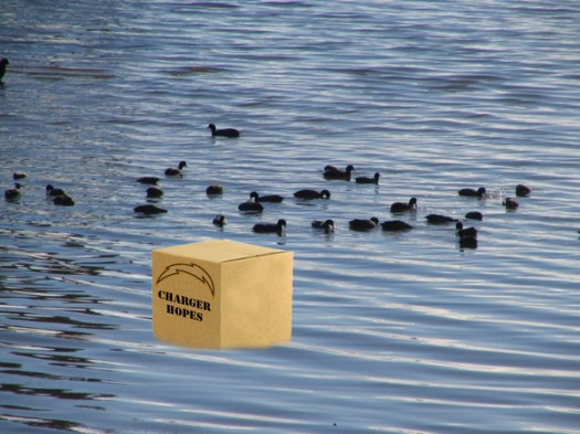 A box of Charger hopes polluting Lake Miramar