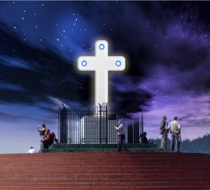 New Japanese made cross, with blue LEDs