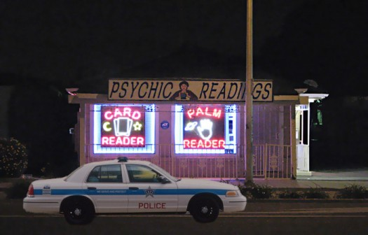 Police car outside Psychic Sandra's private practice