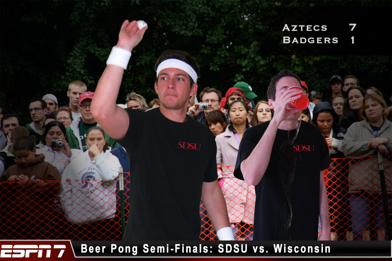 LA MESA — Yesterday San Diego State University's beer pong team beat the