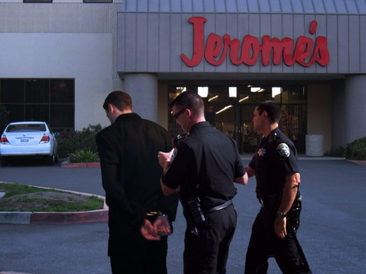 Schuler arrested outside Jerome's Furniture